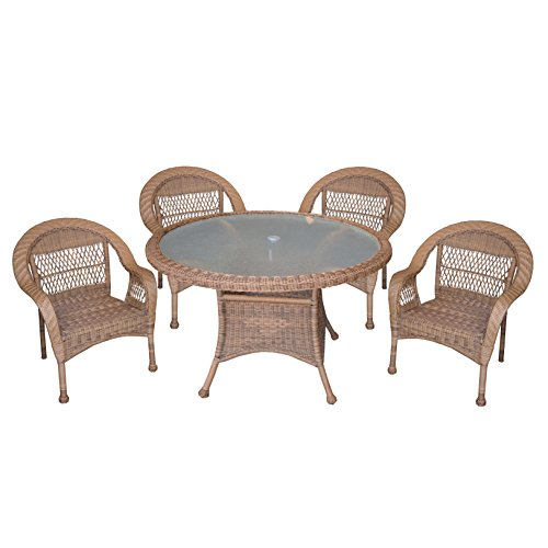 Oakland Living AZ9999-SET-NT Traditional Outdoor Indoor Tempered Glass Resin Wicker Dining Set, 5 Piece/48