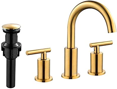 Amazon Com Forious 2 Handle Gold Bathroom Faucet 8inch Bathroom Sink Faucet With Pop Up Drain 3 Hole Widespread Brushed Brass Bathroom Faucets Brushed Gold Home Improvement