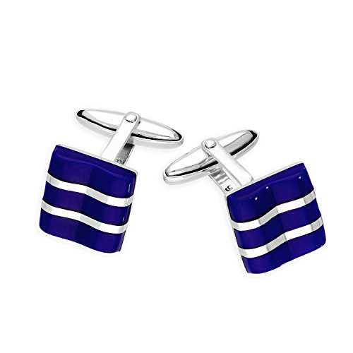 - Sayers London Sterling Silver Lapis Square with Lines Cufflinks