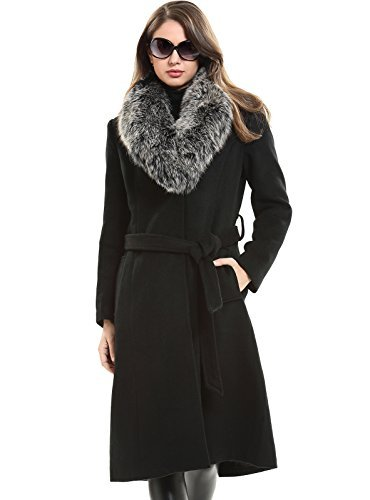 Escalier Women's Wool Trench Belt Long Coat with Fur Collar Black ()
