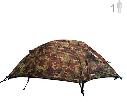 NTK Windy Camo 1 Man Dome Bivy Lightweight Tent, 8 x 5FT Outdoor Dome Backpacking Recon Tent 100% Waterproof 2500mm, Super Compact, Durable Fabric Full Coverage Rainfly - Micro Mosquito Mesh. (Best Lightweight 1 Man Tent)