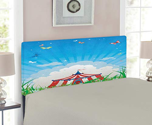 - Ambesonne Circus Headboard for Twin Size Bed, Travelling Circus Tent with Clouds Butterflies and Clear Sky Festival Happiness, Upholstered Decorative Metal Headboard with Memory Foam, Red Green Blue