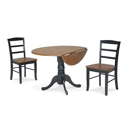 Madrid Dining Room Set - Dining Essentials 3-Piece 42-inch Black/Cherry Dual Drop-Leaf Table and Madrid Chair Set Leaf Drop Table Antique Mahogany Oak Dining Twist Svitlife