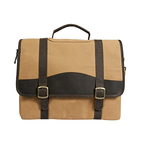 "Canyon Outback Elk Valley 15"" Canvas and Leather Computer Briefcase (Brown)"
