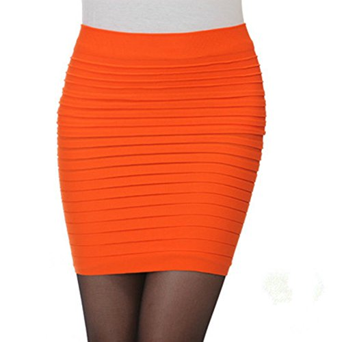 1b21fc7c9abefe Anna Women's Sexy Slip-On Pleated Stretch Pencil Mini Skirt (orange) - Buy  Online in Oman. | Apparel Products in Oman - See Prices, Reviews and Free  ...