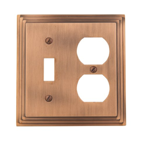 Amerelle 84TDAC Steps Cast Metal Toggle Duplex Wallplate, Antique Copper