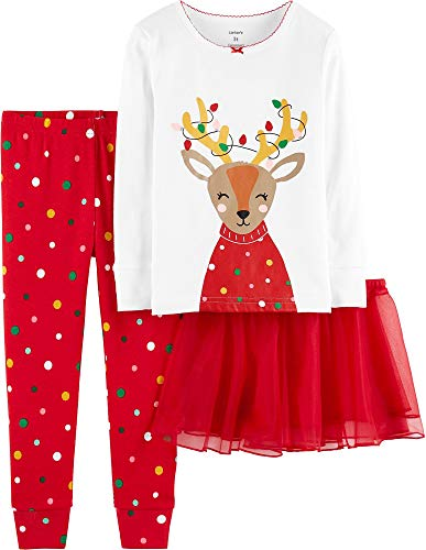 Carter's Baby Girls' Christmas 3-Piece Cotton Pjs with Tutu Set (18 Months, Red Reindeer)]()
