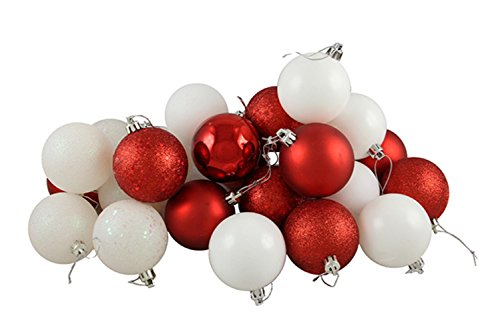 Vickerman 24 Count Candy Cane Shatterproof 4-Finish Christmas Ball Ornaments, 2.5