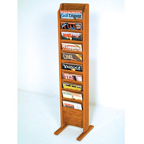 Wooden Mallet MR10-FSBL Cascade Free Standing 10 Pocket Magazine Rack - Black44; Light Oak & Medium Oak (Freestanding Oak Magazine Rack)