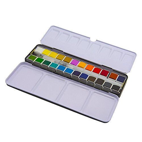 AQUAnaut WaterColors - 24 Color Half-pans - Large 8ml Refillable Water Brush - Metal Tin And Palette In a Durable Travel Design