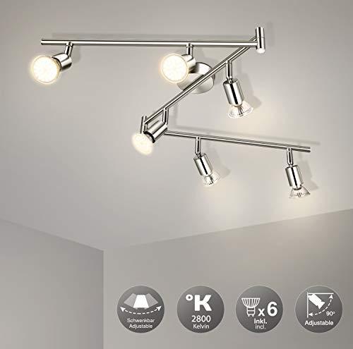 Wowatt LED 6-Vlams Plafondlamp Plafondspot LED Spot Plafondlamp Keuken Zwenkbaar Woonkamer Hal Slaapkamer Warmwit…