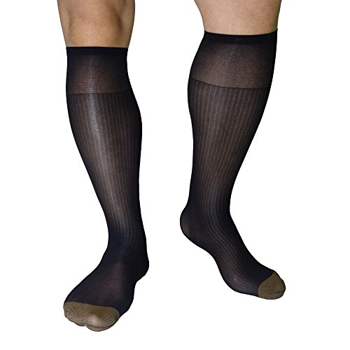 Mr.Babuu 2Pairs Pack Men's Over the Calf Smooth Silk Striped Nylon Sheer Dress Socks (Black)
