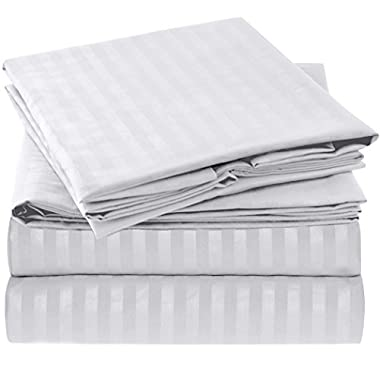 Ideal Linens Striped Bed Sheet Set - 1800 Double Brushed Microfiber Bedding - 4 Piece (King, White)