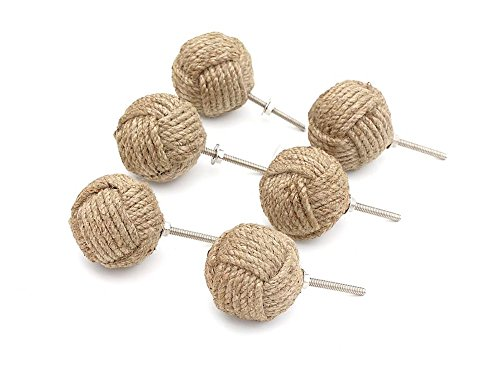 Set of Six Round Natural Jute Drawer Handles - Ideal For Updating Existing Furniture - ⌀5cm