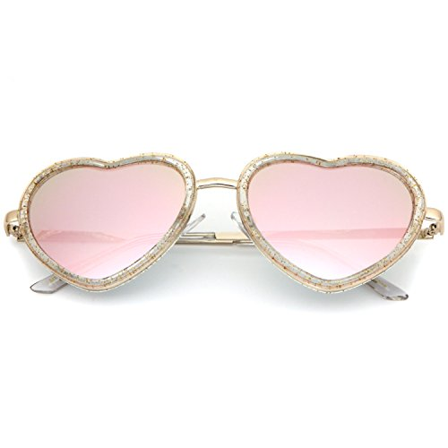 Pink Rose Heart - SUNGLASSES LUXE - Heart Shaped Pink Revo Rose Gold Glitter Color Mirrored (Gold)