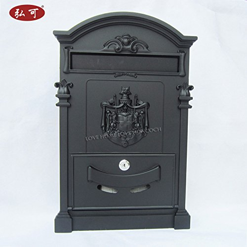 Italy Style Aristocratic Mailboxes Cast Aluminum Mail Boxes (07 Black)