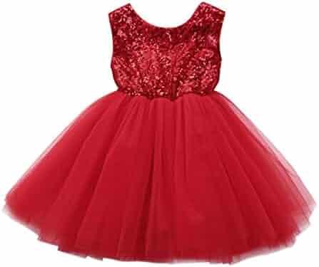 36c99bf190 Kehen Infant Baby Toddler Girl Sleeveless Sequins Backless Party Dress  Classic Elegant Princess Tutu Dresses Summer