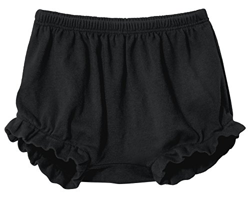 City Threads Baby Girls' and Boys' Ruffled Diaper Covers Bloomers Soft Cotton Fashionable Cute, Black, 6-9Months