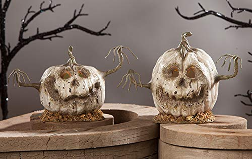 Bethany Lowe Into The Woods Scary White Pumpkin Heads Halloween Set of 2