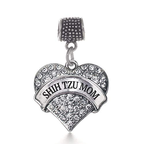 Shih Tzu Bracelets - Inspired Silver - Shih Tzu Mom Memory Charm for Women - Silver Pave Heart Charm for Bracelet with Cubic Zirconia Jewelry