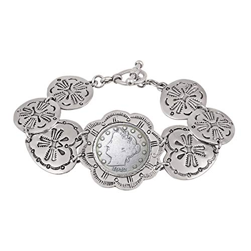 (Liberty Nickel Toggle Bracelet | 7.5 Inch Silvertone Pewter Western Style | Genuine Coin Over 100 Years Old | Certificate of Authenticity)