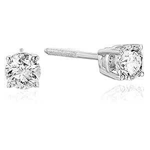 1/2 cttw AGS Certified Diamond Stud Earrings 14K White Gold (SI2-I1 Clarity)