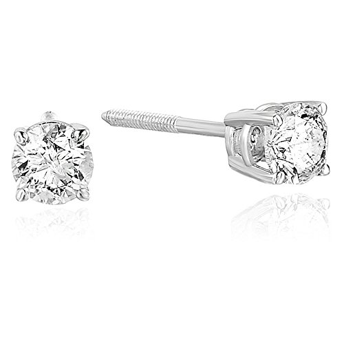 3/8 cttw Certified Diamond Stud Earrings 14K White Gold I1-I2 Clarity With Screw-Back