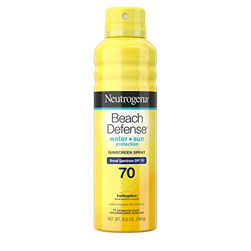 (Neutrogena Beach Defense Body Spray Sunscreen with Broad Spectrum SPF 70, Water-Resistant and Oil-Free Sun Protection, 6.5 oz)
