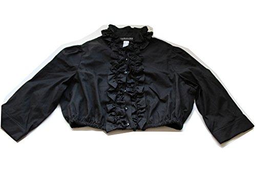 Jobeline Trachtenbluse Damen Dirndlbluse Modell: Susi Farbe: Schwarz Gr. 38 Bluse mit Rüschen für das Dirndl mit 3/4 Arm und Stehkragen Bluse