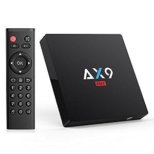 TICTID [2GB/16GB EMMC] AX9 MAX Android 7.1 TV box 4K TV Box Amlogic Quad Core A53 Processor 64 Bits 2.4G WIFI H.265 HEVC Video Decoder 4k.2k HDMI 2.0 Output Smart TV Box