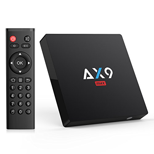 TICTID [2GB/16GB EMMC] AX9 MAX Android 7.1 TV Box 4K TV Box Amlogic Quad Core A53 Processor 64 Bits 2.4G WIFI H.265 HEVC Video Decoder 4k.2k HDMI 2.0 Output Smart TV Box by TICTID