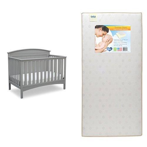 Delta Children Archer 4-in-1 Crib, Grey with Twinkle Stars Crib & Toddler Mattress