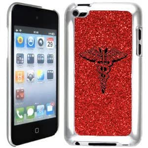 Red Apple iPod Touch 4th Glitter Bling Hard Case Cover GT406 Medical Symbol