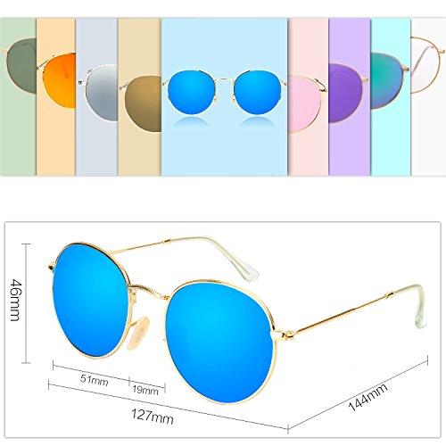 Unisexe SJ1014 de Polarisées Lunettes Soleil SOJOS Miroir UV Anti Vintage Bleu Ronde Rétro v0wvqPz