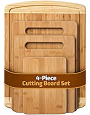 Premium Natural Bamboo Cutting Board Set - Wooden 4-Piece Kitchen Chopping Boards with Juice Groove for Meat, Cheese and Vegetables - Large Natural Wood Butcher Block, Cheese Board & Charcuterie BoardBoard Set - Kitchen Chopping Boards (4-Piece) for Meat, Cheese and Vegetables - Extra Large Natural Wood Butcher Block with Juice Groove