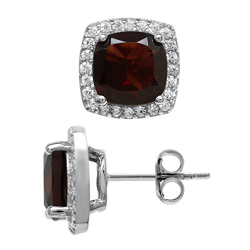 (4.94ct. Natural Cushion Shape Garnet White Gold Plated 925 Sterling Silver Halo Stud Earrings)
