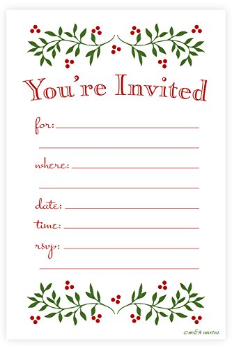 Christmas Invitations - Classic Christmas Holiday Invitations - Fill In Style (20 Count) With Envelopes