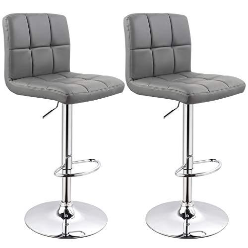 Bar Stool Duhome WY-451 Adjustable Swivel with Backrest Set of 2 Barstools Grey