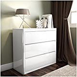 White High Gloss Chest of Drawers - 3 Drawers - Modern Design by Lexi