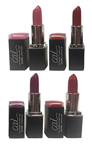 Cai Cosmetics 4 Color Gloss Shine Lipstick Set (Pink, Tomato, Purple, Burnt Red)