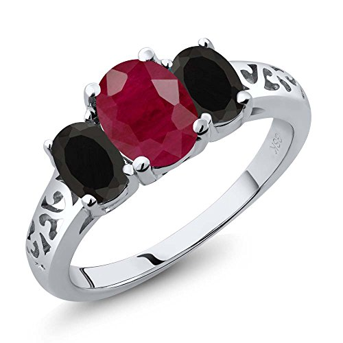 2.38 Ct Oval Red Ruby Black Onyx 925 Sterling Silver 3 Stone Ring (Ruby Trellis Ring)