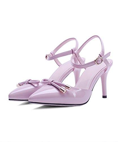 Amoonyfashion Mujer Solid Pu High-heels Cerrado Sandalias De Hebilla Del Dedo Del Pie Pink