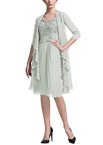liangjinsmkj Women's Chiffon Spring Ruffle Jacket Mother of The Bride Plus Size Formal Evening Dresses Grey US24W