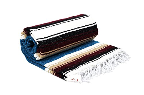 Blue Mexican Yoga Blanket -- Thick Navajo Diamond Serape with Tan / Khaki and Red / Maroon Stripes