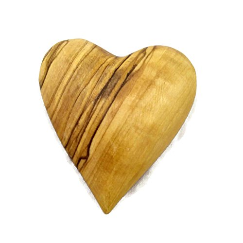 Chunky Olive Wood Heart Hand Carved in Bethlehem - (Scroll Heart)