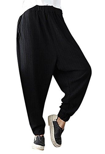 Harem Jambes Vintage Lâche Femmes Doux Pantalon Casual Tourisme Noir Voyage Large Pour Feoya Bottes Avec wWqTP0nwF4