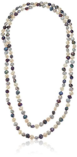 8-9mm Multicolor Black, White and Grey Baroque Cultured Freshwater Pearl Endless-Style Strand Necklace, 54'' by Amazon Collection