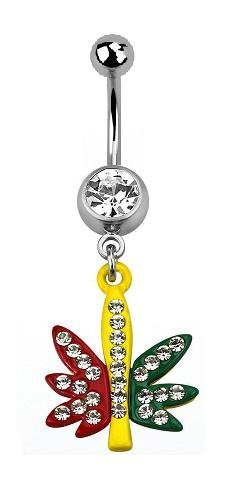 piercing nombril cannabis, marijuana, jaune rouge et vert strass blanc crystal feuille