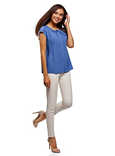 Ultra ud oodji Bleu avec N 7500n Ample Coupe Femme Blouse fH0dq7