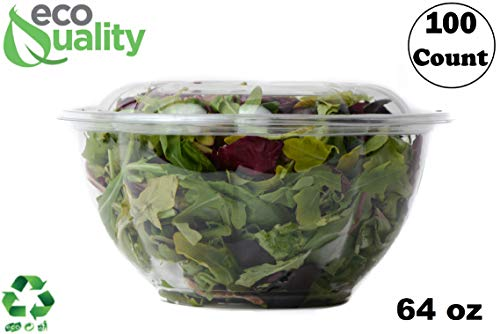 Rice Rose Bowl - 64oz Clear Disposable Salad Bowls with Lids (100 Pack) - Clear Plastic Disposable Salad Containers for Lunch To-Go, Salads, Fruits, Airtight, Leak Proof, Fresh, Meal Prep | Rose Bowl Container (64oz)